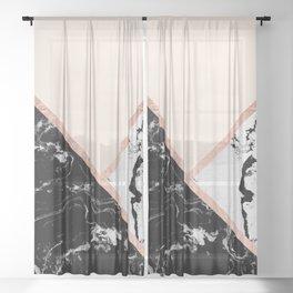 Modern black white marble rose gold color block stripes blush pink Sheer Curtain