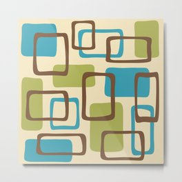 Mid Century Modern Abstract Squares Pattern 419 Metal Print