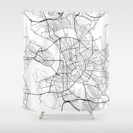Dusseldorf Map, Germany - Black and White  Shower Curtain