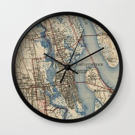 Vintage Map of St. Augustine Florida (1937) Wall Clock