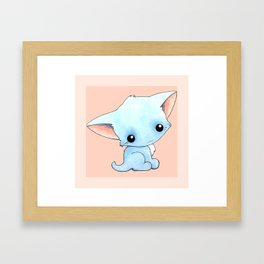 Little Blue Kitty Framed Art Print