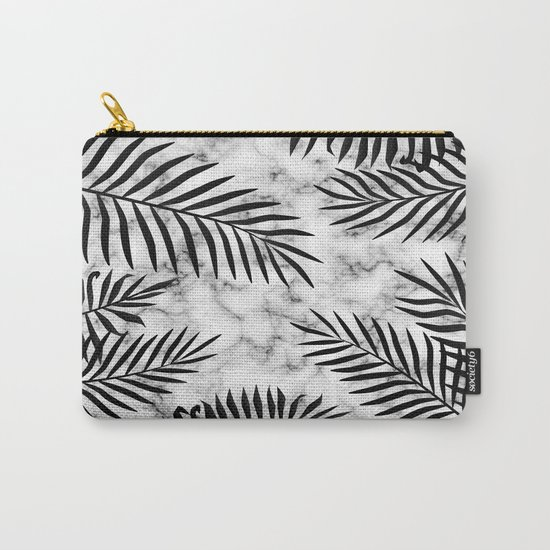 Black palm leaves on marble Carry-All Pouch