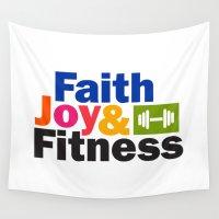 fitness Wall Tapestries featuring Faith Joy & Fitness by Maria Faith Garcia