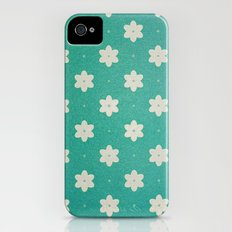 white flowers on turquoise iPhone (4, 4s) Slim Case