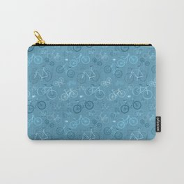 I love bikes in teal Carry-All Pouch