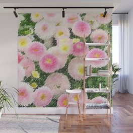 Snowball Bellis Daisy Bouquet Still Life Painting by Jeanpaul Ferro Wall Mural