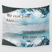 postcard Wall Tapestries featuring Mountains Postcard by Darcy Lynn Designs