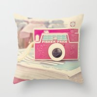 vintage camera Throw Pillows featuring Camera by Angie Ravelo Art & Photography