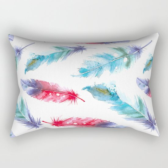 Boho Watercolor feathers Rectangular Pillow