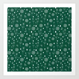 Flowers an Raindrops Art Print
