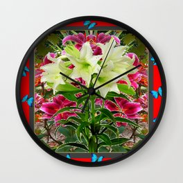 BLUE BUTTERFLIES &  LILY FLOWER  RED ART Wall Clock