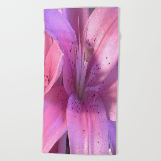Lily: A Closeup Beach Towel