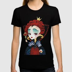 Queen of Hearts LARGE Black Womens Fitted Tee