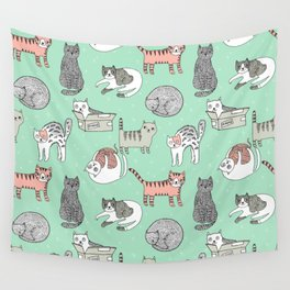 Cat pattern cute nursery cat lady kittens by andrea lauren Wall Tapestry