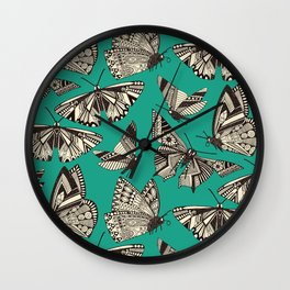 summer butterflies teal Wall Clock