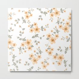 Cherry blossom seamless pattern. Vector illustration. Metal Print
