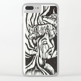 Woman with Foxes- Woodcut Clear iPhone Case