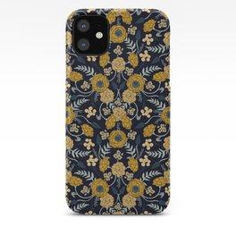 Navy Blue, Turquoise, Cream & Mustard Yellow Dark Floral Pattern iPhone Case