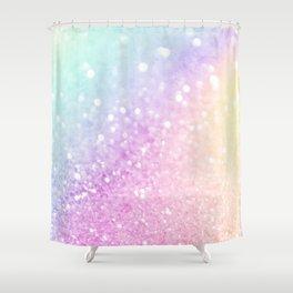 Pretty Pastel Colorful Glitter Bokeh Gradient Shower Curtain