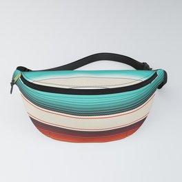 Navajo White, Turquoise and Burnt Orange Southwest Serape Blanket Stripes Fanny Pack