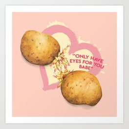 Food Pun - Potato Romance Art Print