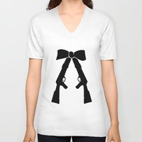 bow V-neck T-shirts featuring Bow by Panic Junkie