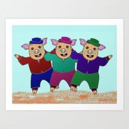 Three Little Pigs with Frekles Art Print