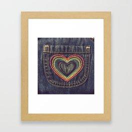 Embroidered Rainbow Heart Pocket Framed Art Print
