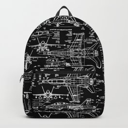 F-18 Blueprints // Black Backpack