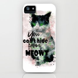 Watercolor Black White Cat Pink Tint Calligraphy iPhone Case