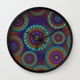 Dot Art Circles Teals and Purples #1 Wall Clock