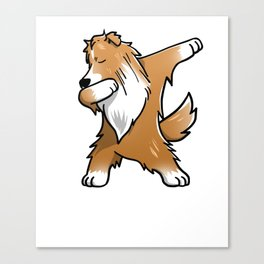 Funny Dabbing Shetland Sheepdog Dog Dab Dance Canvas Print