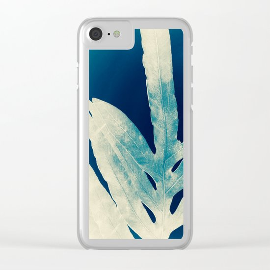 Green Fern at Midnight Bright, Navy Blue Clear iPhone Case