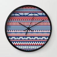 steve rogers Wall Clocks featuring Tribal Heroes - Steve Rogers by monobuu