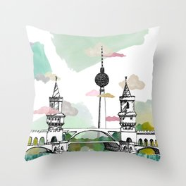Oberbaum Brücke and TV Tower - Berlin - East/West boundary - East Side Gallery Throw Pillow
