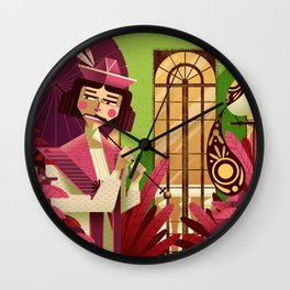 Woman with a parasol Wall Clock