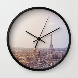Cityscape of Paris, France. View of the Eiffel tower. Wall Clock