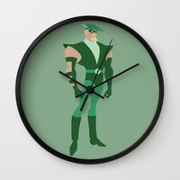 green arrow Wall Clocks featuring Green Arrow by karla estrada