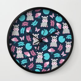 Cute Pink Teal Hippo Floral Butterfly Lily Pad Wall Clock