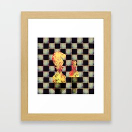 Grunge  Chessboard and Chess Pieces Framed Art Print