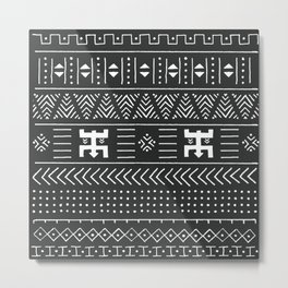 Black and white tribal ethnic pattern with geometric elements, traditional African mud cloth, tribal design, vintage illustration Metal Print