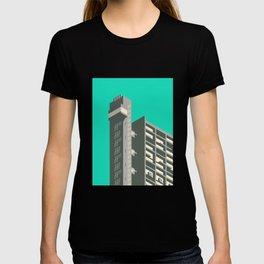 Trellick Tower London Brutalist Architecture - Turquoise T-shirt