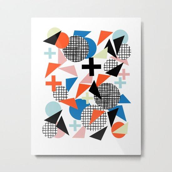 Kimbah - abstract art print shapes modern geometric retro cool colorful hipster gift idea dorm room  Metal Print
