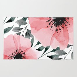 Big Watercolor Flowers Rug