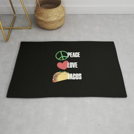 Peace Love Tacos Funny Sarcastic Distressed Rug