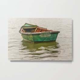 Lonely Old Fishing Boat at Santa Lucia River in Montevideo, Uruguay Metal Print