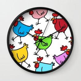 Random Chickens Wall Clock