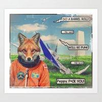 starfox Art Prints featuring Starfox - F*CK YOU PEPPY! by John Medbury (LAZY J Studios)