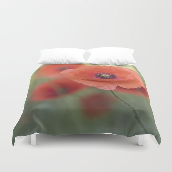 Beautiful poppy in a meadow Duvet Cover