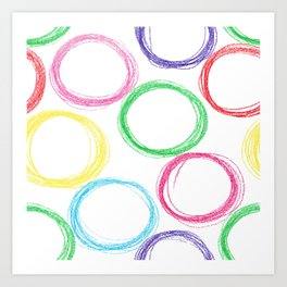 Seamless pattern background with colored pencil circles Art Print